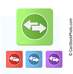 set of colored icons with arrows left and right Set of four...