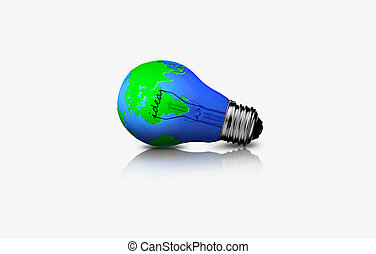 Earth in light bulb isolated on white background. Ecology...