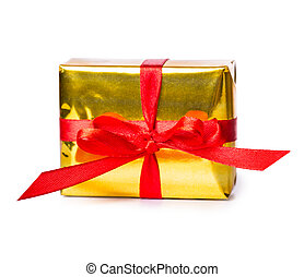 gift box bow red yellow Isolated on white background