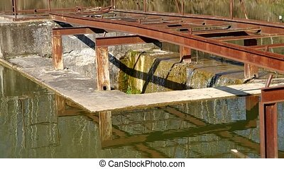 Pier on the bank of a pond - Pier on the bank of the pond,...