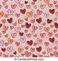 Seamless pattern with funny hearts - Seamless pattern with...