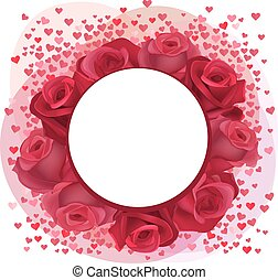 Blank romantic frame with roses and pink confetti hearts