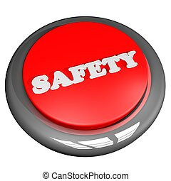 Safety button isolated over white, 3d render