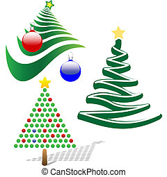 Set of 3 Merry Christmas Tree Design Elements - A set of...
