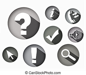 eight different monochrome icons round shape, eight...