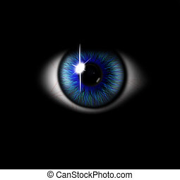 3d blue eye on black background. eyeball with pupil blue...