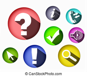eight different colored icons round shape - Several...