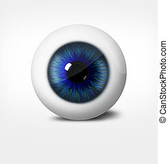 3d eye of man on white background. eyeball with pupil blue...