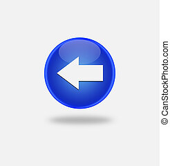 blue icon left arrow - Internet button on white background....