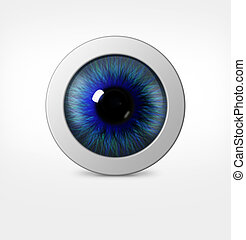 3d eye of man on white background eyeball with pupil blue...