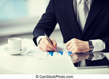 man with tablet pc and cup of coffee - man with tablet pc,...