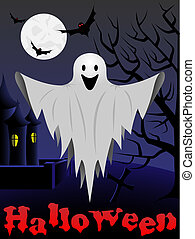 Halloween card with flying ghost and castle and tree in the...