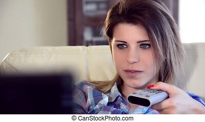 cute young woman watching tv - woman, girl, teenager,...