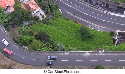 Traffic view from above hilly area