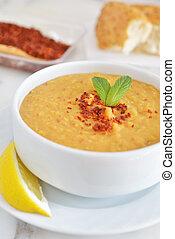 vermelho, lentilha, sopa,