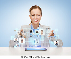 businesswoman with tablet pc and icons of contacts -...