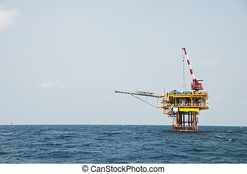 Production platform in offshore oil and gas industry. The...
