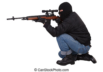 asesino, con, francotirador, rifle,