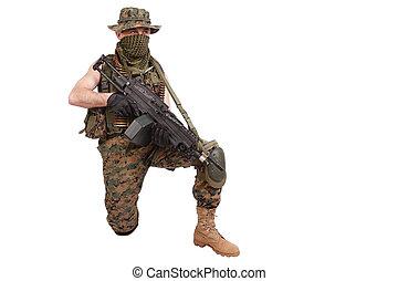 US MARINES with M249 machine gun isolated on white