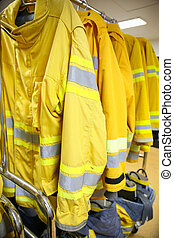 firefighter suit and equipment ready for operation