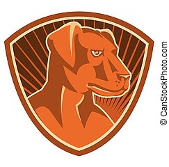 dog-labrador-head-side-shield - vector illustration of a...