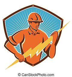 electrician-lghtning-bolt-shield-front - Illustration of an...