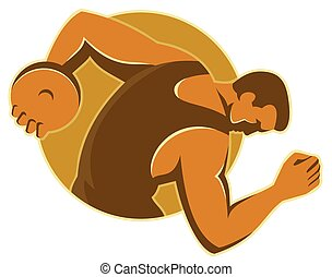 discus-throw-male-side - vector illustration of a male...