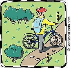 Cyclist with a bike. - Children vector illustration of...