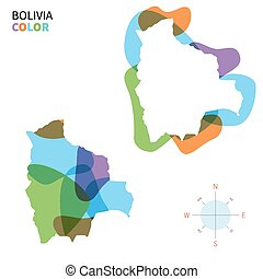 Abstract vector color map of Bolivia with transparent paint...