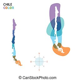 Abstract vector color map of Chile with transparent paint...