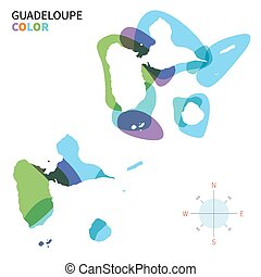 Abstract vector color map of Guadeloupe with transparent...