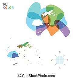 Abstract vector color map of Fiji with transparent paint...