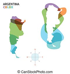Abstract vector color map of Argentina with transparent...
