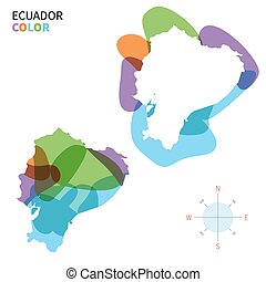 Abstract vector color map of Ecuador with transparent paint...