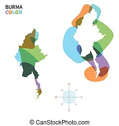Abstract vector color map of Burma with transparent paint...