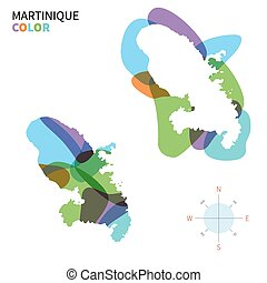 Abstract vector color map of Martinique with transparent...