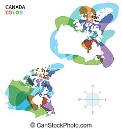 Abstract vector color map of Canada with transparent paint...