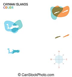Abstract vector color map of Cayman Islands with transparent...