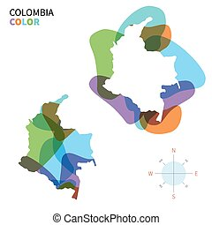 Abstract vector color map of Colombia with transparent paint...