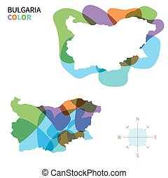 Abstract vector color map of Bulgaria with transparent paint...