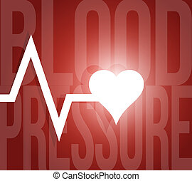 blood pressure lifeline illustration design over a red...