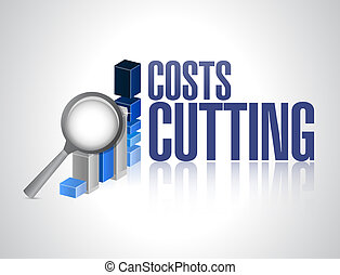 costs cutting business graph illustration design over a...