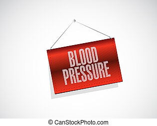blood pressure hanging banner illustration design over a...