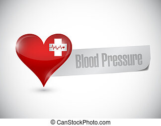 blood pressure heart sign illustration design over a white...