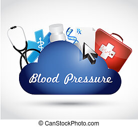 blood pressure medical cloud illustration design over a...