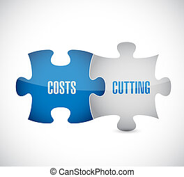 costs cutting puzzle pieces illustration design over a white...