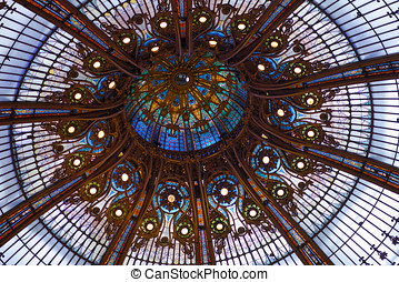 Tiffany glass dome - Dome in the Galeries Lafayette, Paris,...