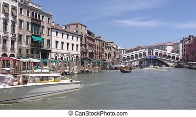 Venice Canal Grande Rialto Bridge - vehicle shot - VENICE,...