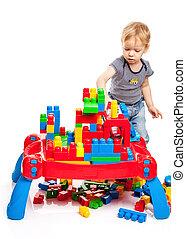 predios, Menino,  toddler, blocos, tocando