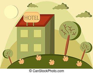 Funny cartoon of hotel